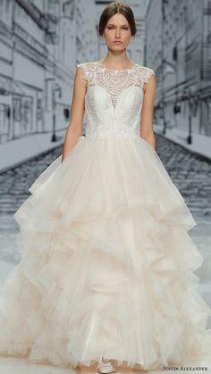 justin alexander spring 2017 cap sleeves jewel neck lace bodice ball gown wedding dress (8888) mv layered skirt
