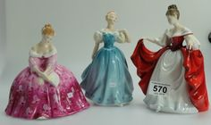 Collectors & General Auction – Lot 570 – Royal Doulton figures Sara HN2265, Enchantment HN2178 and Victoria HN2471 (3).  Sold for £50.00