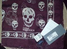Coachella Style | McQ by Alexander McQueen Burgundy/Ivory Silk Skull Pashmina