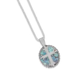 5471t  18″ Oval Roman Glass Cross Necklace   $75.63      Roman glass cross pendant measures 14mm x 16mm and hangs from 1mm wide box chain with spring ring closure. Color of Roman glass will vary. Comes with Certificate of Authenticity. .925 Sterling Silver
