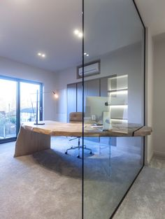 Janey Butler Interiors - Voted Best UK Office Interior at The International Property Awards for our Stuart Rushton Estate Agent commercial project Commercial Architecture, Interior Architecture, Interior Design, Office Decor, Home Office, Curved Desk, Oak Desk, Glass Texture, Wood Pieces