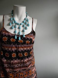 vintage.  Indian Print Short Dress  /  Cotton Dress /  S. $42.25, via Etsy.