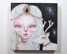folk art Original girl and deer painting whimsical mixed media art painting on wood canvas 6x6 inches - Collector of Dreams
