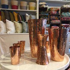 Beautiful Hammered Copper Barware, Palm Leaf Baskets, Block Print