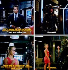 """No mask?"" - Oliver and Felicity #Arrow"