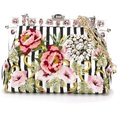 Dolce & Gabbana 'Vanda' clutch found on Polyvore featuring bags, handbags, clutches, white, floral clutches, python handbag, rhinestone purse, sequin handbags and dolce gabbana handbag