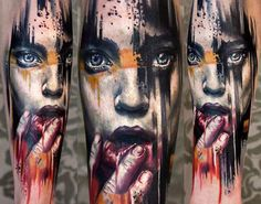 Realistic full colors Face tattoo art by artist Charles Huurman