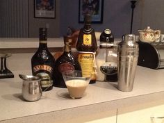 Roasted toasted creamy chocolate martini..... One shot of each in a shaker with ice.  Baileys, Godiva, Frangelico, Sheridan or any coffee liqueur and fresh brewed espresso.  Cheers!