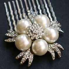 Crystal Rose Pearl Hair Comb,