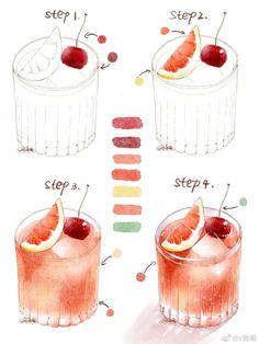 Watercolor Art Lessons, Watercolor Food, Watercolor Painting Techniques, Watercolor Art Paintings, Watercolour Tutorials, Cute Food Drawings, Art Drawings Sketches Simple, Cute Food Art, Cute Art