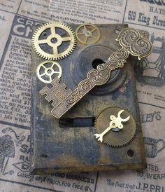 Steampunk Vintage Lock Box Plate by Sassysteampunk on Etsy, $30.00