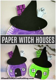 Easy - paper plate witch house crafts for children - kindergarten autumn . Wickedly Easy - paper plate witch house crafts for children - kindergarten autumn .,Wickedly Easy - paper plate witch house crafts for children - kindergarten autumn . Theme Halloween, Halloween Arts And Crafts, Halloween Tags, Crafts For Kids To Make, Kids Diy, Preschool Halloween, Paper Halloween, Halloween House, Paper Plate Crafts