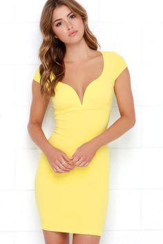 Puttin' on the Ritz Yellow Bodycon Dress