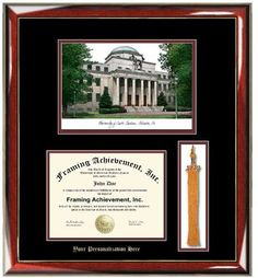 personalized university of southern california usc lithograph diploma frame with tassel box gold embossed personalization