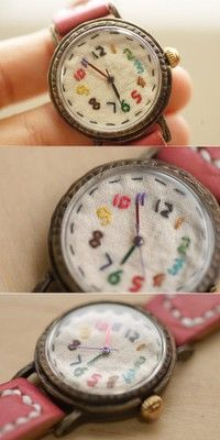 "handmade embroidered ""watch"" inspiration -- links to Chinese Pinterest-like site"