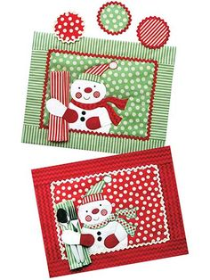 """This adorable snowman is not only jolly -- he's also very helpful as he happily holds your napkin and silverware. Included are instructions and pattern pieces to make place mats, napkins and coasters.  Finished sizes:  Place mats: 19"""" x 15""""..."""