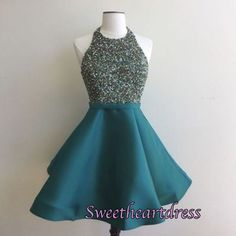 Sequins prom dress, homecoming 2016, cute blue sequins satin short party dress for teens