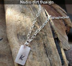 Herren Halskette mit Initiale-Anhänger. Für Männer von NadinArtDesign auf DaWanda.com
