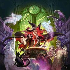 Halloween Kunst, Halloween Artwork, Halloween Icons, Fantasy Witch, Witch Art, Creepy Pictures, Art Pictures, Fantasy Kunst, Fantasy Art