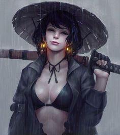 Ronin girl Ronin Samurai, Female Samurai, Samurai Art, Warrior Girl, Fantasy Warrior, Art Anime, Manga Art, Fantasy Women, Fantasy Girl