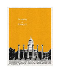 University of Missouri Art Print  8x10 World Traveler by PineShore, $20.00