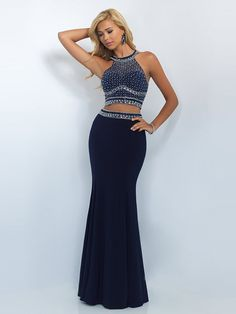 Sheath/Column High Neck Sleeveless Crystal Floor-Length Jersey Two Piece Dresses PromEver