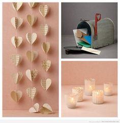 Ideas para decorar una boda con corazones de papel, velas y buzones vintage