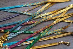 Beaded stacking bracelet, dainty layering bracelet, Handmade with Miyuki 24 carat gold plated beads - Gold plated lobster clasp Dainty Bracelets, Layered Bracelets, Seed Bead Bracelets, Seed Bead Jewelry, Handmade Bracelets, Beaded Jewelry, Loom Beading, Beading Patterns, Bracelet Making