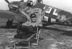 "Leutnant Gottfried Weiroster of the Mosquito-hunting Stabstaffel/JG 50, under the command of Major Hermann Graf, with his Bf 109 G-5/R6, (W.Nr. 15 912), ""Red 3"""