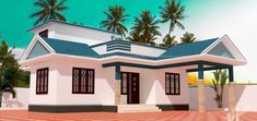Single story home design Kerala House Design, Small House Design, Modern House Design, Unique House Plans, Indian House Plans, Porch And Terrace, Small Terrace, Single Story Homes, One Story Homes