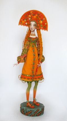 """Buckthorn"" - art doll by Anna Zueva. 52 cm (20 inches) tall. Paperclay, textile, acryl, mixed media. No pre-fabricated parts. Handmade clothes only. Unique edition, date of work: September, 2014. See more at: www.annazueva.com"
