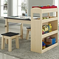 Kids Maple Wood Activity Table with Two Stools | Overstock.com Shopping - Big Discounts on Altra Kids' Table & Chair Sets