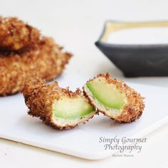 Recipe: Avocado Fries with Basil Ranch Dressing Fried Avocado recipe adapted from Joy the Baker 1 quart of canola oil 1 avocado, medium firm to the touch 2 large eggs, beaten 1/3 cup of flour 1/2 teaspoon garlic powder 1/2 teaspoon onion powder dash of salt 1/4 teaspoon of pepper dash of cayenne 1 Tablespoon finely grated Parmesan Cheese 2 cups of Panko