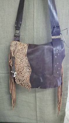 Handcrafted Leather Boho Messenger Bag by WhiteBuffaloCreation