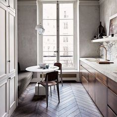 Chevron wood floors in the kitchen