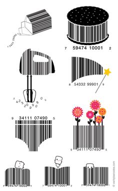 Vanity Barcodes - A product UPC (or similar) barcode that's been turned into a decorative design, but still scans like a barcode.