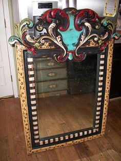 Hand PaintedFurniture ~ fUNKY fUN mIrRoR I need to start doing these