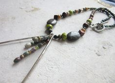 Earthy Boho necklace  beaded Bohemian necklace  by SumertaDesigns