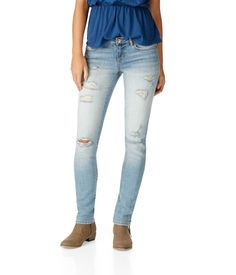 NEW! Skinny Destroyed Light Wash Jean from Aeropostale