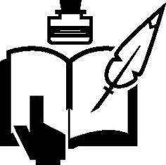 Leer y escribir un libro con tinta y una pluma