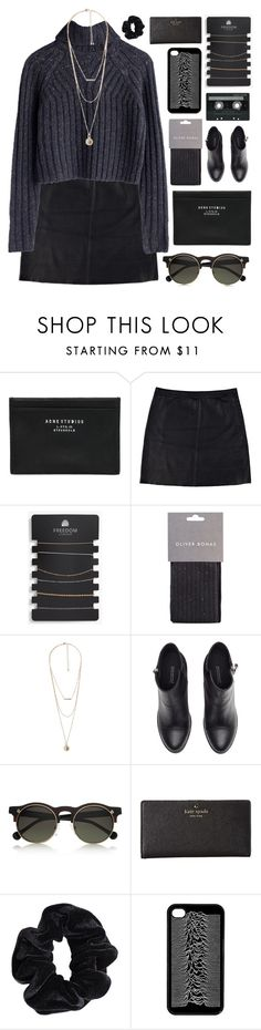 """Dark mood"" by sleepy-seas ❤ liked on Polyvore featuring Acne Studios, Eska, Topshop, MANGO, H&M, Carven, Kate Spade, American Apparel and CASSETTE"