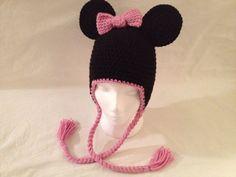 Crochet Disney Minnie Mouse Inspired Ear Flap by fuzzymonsterknits