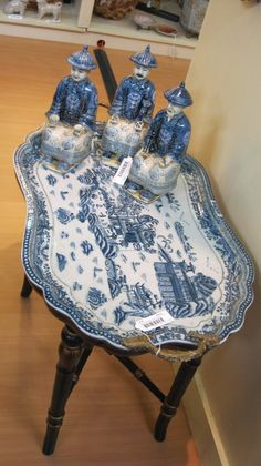 love this blue and white tray table seen at the New York gift show! - The Enchanted Home