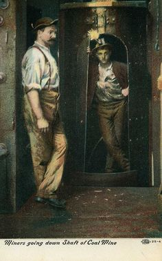 """Miners going down shaft of Coal Mine"", a postcard depicting Pennsylvania coal miners, ca. 1907"