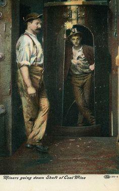 """Miners going down shaft of Coal Mine"", a postcard depicting Pennsylvania coal miners, ca. 1907"
