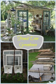 Salvaged items were used to create a chic French door greenhouse. http://www.hometalk.com/l/z2j