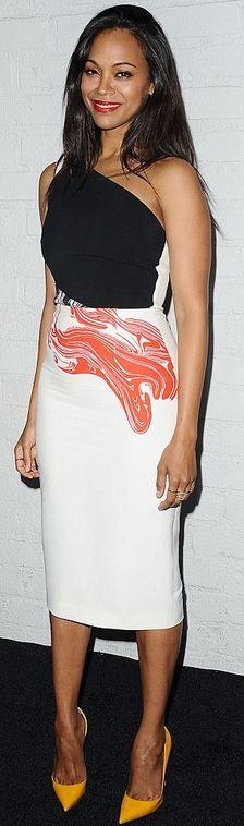 Who made Zoe Saldana's black print dress and yellow pumps?