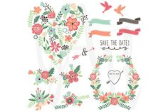 Check out Vintage Flowers Wedding Set by YenzArtHaut on Creative Market