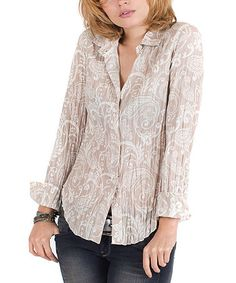Another great find on #zulily! Wheat Paisley Crepe Button-Up - Women by Cino #zulilyfinds