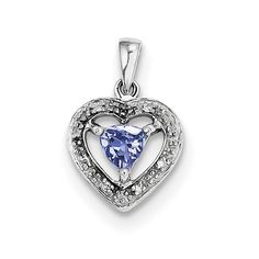 Sterling Silver Rhodium-plated Tanzanite & Diamond Pendant QDX957